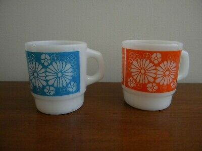 Lot of 2 Vintage Fire King Blue & Orange Daisy Stacking Mugs Cups