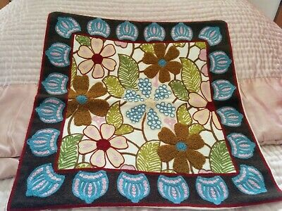 Turkish Cotton Cushion Cover Chain Stitch Embroidered Floral Design 45 cm
