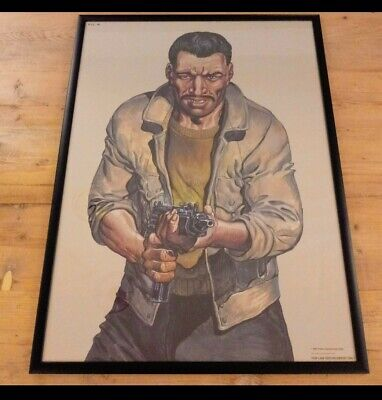 Rare Vintage Police Law Enforcement Shooting Target Practice Framed Poster Print