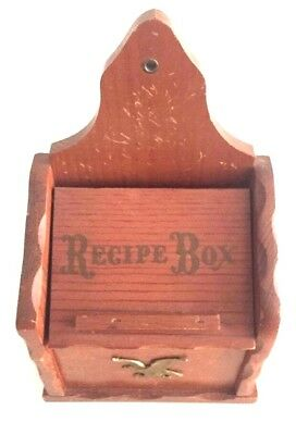 Vtg 60's Recipe Box Early American Wood Card Holder Brass Eagle Wall Hanging