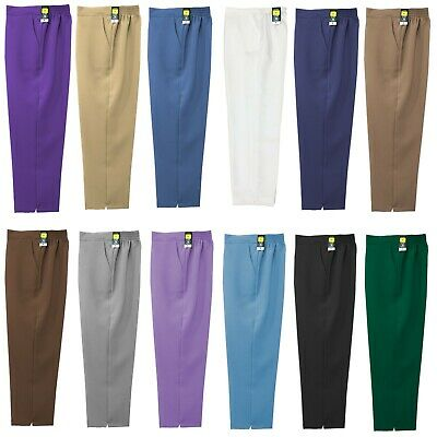 New Ladies Womens Work Trousers Half Elasticated Stretch Waist Office Pants