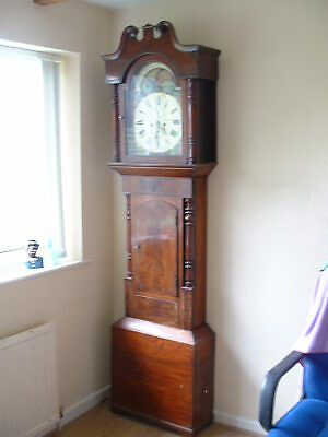 Antique Longcase Grandfather Clock with Sun & Moon Phase Dial