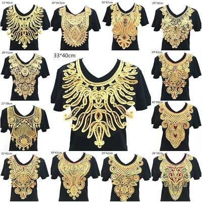 Gold Sequin/ Lace Embroidered Neckline Neck Collar Trim Clothes Sewing Applique