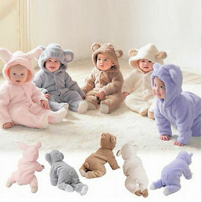 Kid Infant Baby Girl Boy Fleece Hooded Romper Jumpsuit Bodysuit Babygrow Outfits