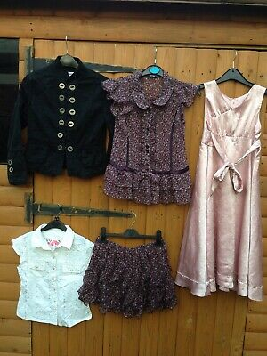 Girls 5 Bundle Wedding Party Sequinned Pink Dress Outfit Skirt Top Jacket 8-9 Y