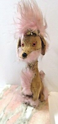 Tall Poodle Vintage Plush Funky With Pink Hair Mid Century Dog Figure