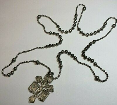 † Scarce Vintage  Pull Chain Continuous Rosary Necklace Pardon Cross Crucifix †