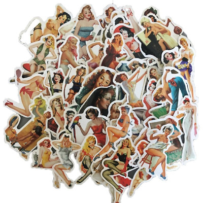 50 Pin Up Model Sticker Lot Sexy Girls Retro Vintage Stickers Skateboard Decals