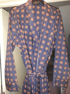 Vintage St Michael M & S Blue Cotton Dressing Gown XL Chest 44 - 46 used