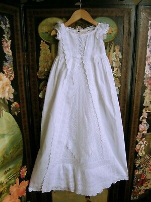 Antique  Christening Gown Broaderie Anglaise Insert Lace  Frills Double Robings