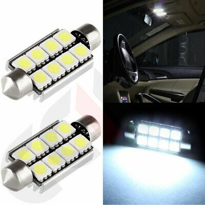 2x Xenon White 42MM 5050 8-SMD Canbus Error Free Interior LED Festoon Light Bulb