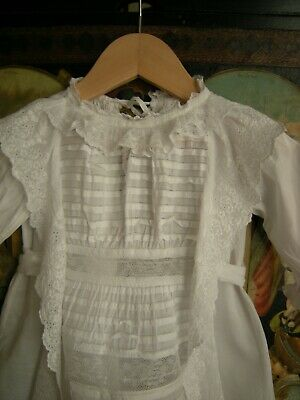 Antique Christening Gown Apron Front, Lace & Pintucks, Broderie Anglaise Frills