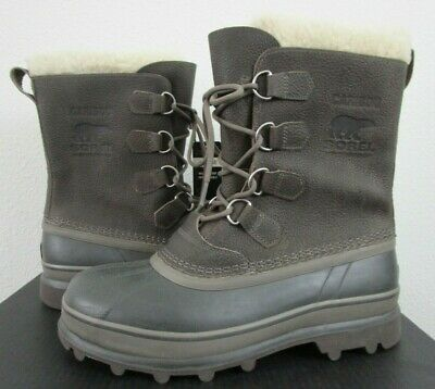 NIB Mens 11 Sorel Caribou Leather Waterproof Winter Insulated Boots - Gray