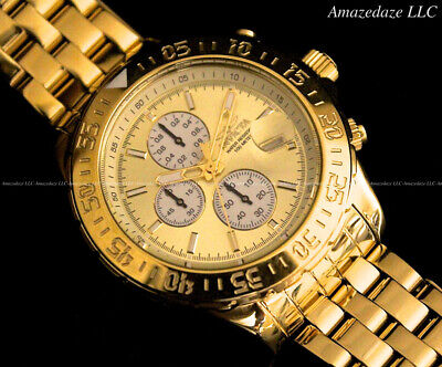 NEW Invicta Mens 18K Gold Plated Stainless Steel Chronograph Gold Dial Aviator W