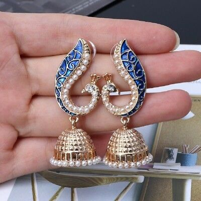 Indian Peacock Jhumka Jhumki Drop Earrings Gypsy Women Party Jewelry Bohemia