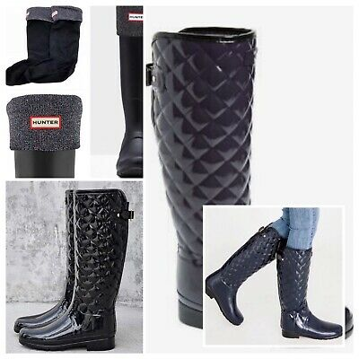 c0834be987948 Hunter Original Refined High Gloss Quilted Rain Boots & Boot Socks New Size  9