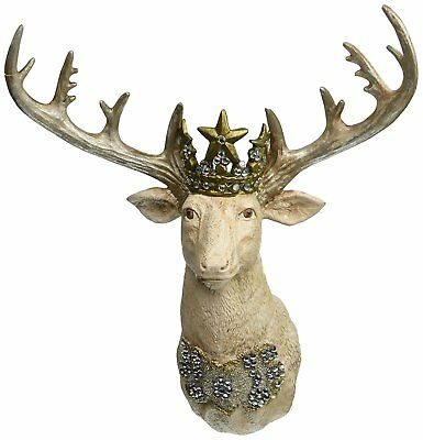 "Embellished Stag Head 12"" Wall Art Decor Christmas Gilded Life Collection New"