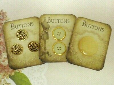 Mixed Lot 6 Vintage Buttons Bakelite 4 Hole Ivory & Gold Metal, Slab Shank