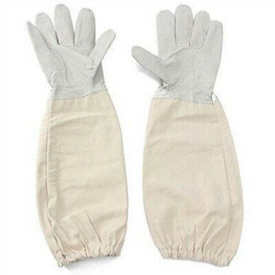 Beekeeping/Bee Gloves Soft White Goats Leather W/ Cotton Gauntlet Hand Protector