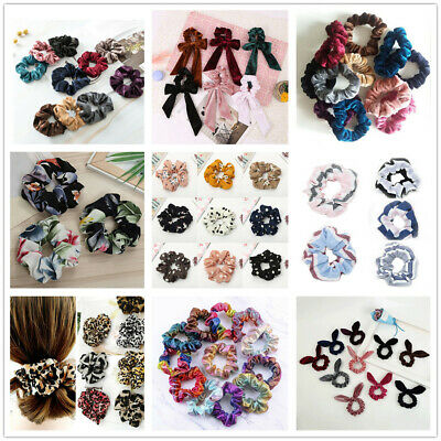 Solid Velvet Scrunchies Hair Ties Ponytail Holders Stretch Elastic Rubber Band H