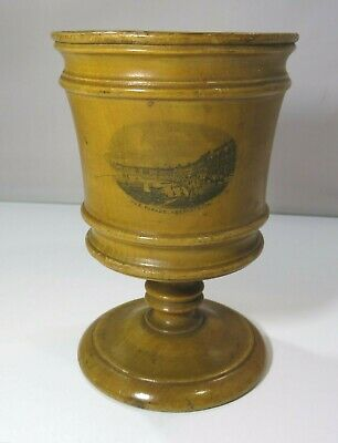 Antique Victorian Mauchline Ware Goblet Cup 'The Parade Aberystwith' Aberystwyth