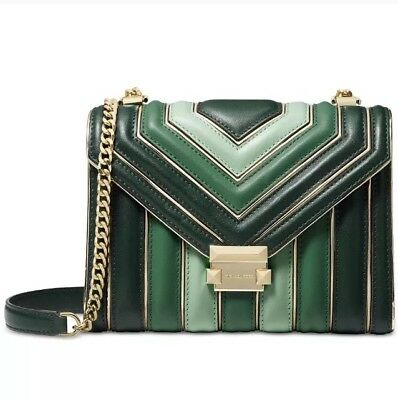 e1846f2bf54fc5 Michael Kors Whitney Tricolor Quilted Racing Green Multi/Gold Shoulder Bag