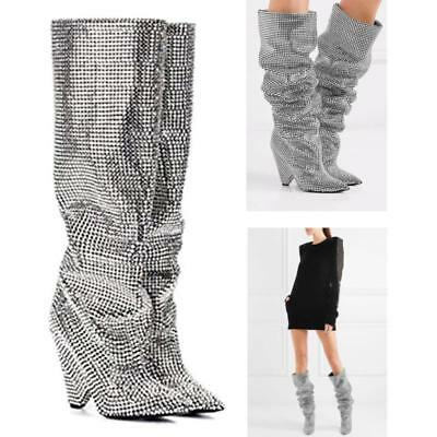 100% Cow leather Embellished Rhinestone Crystal Over Knee High Boots Bling Shoes