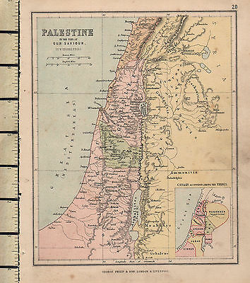 1886 Victorian Map ~ Palestine In The Time Of Our Saviour Judaea Galilee Canaan