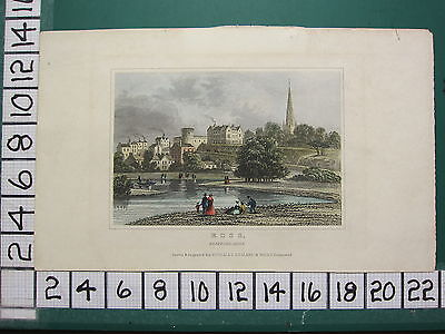 c1830 ANTIQUE PRINT ~ ROSS HEREFORDSHIRE ~ HAND COLOURED