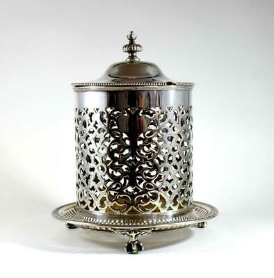 Antique Victorian Atkin Brothers Silver Plate Reticulated Preserve Pot & Cover