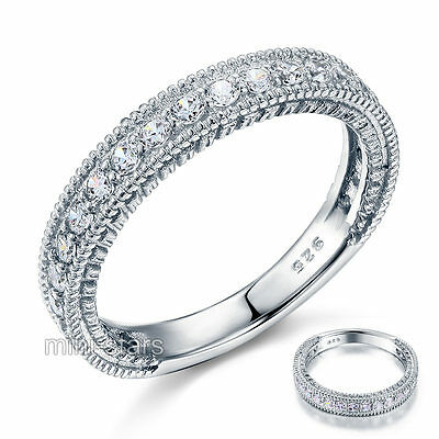Vintage Style 925 Sterling Silver Wedding Band Eternity Ring FR8099
