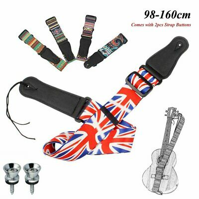 Multicolored Adjustable Bass Electric Guitar Strap w/ 2pcs Strap Lock Buttons