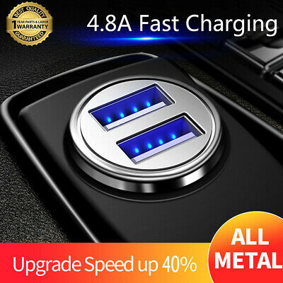 Fast Charging 4.8A Car Charger Dual USB LED Metal Mini For iPhone Samsung S10 S9