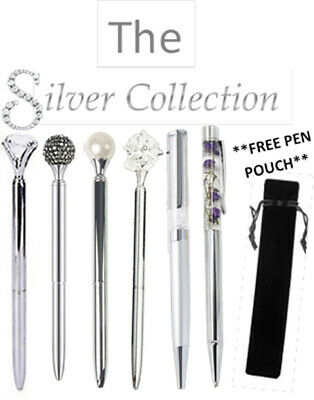 The Silver Collection MRS HINCH Crystal Ballpoint Luxury Pen Gift FREE PEN POUCH