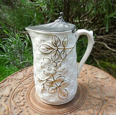 Antique Moulded Jug with Pewter Lid Cottage Rustic Style Milk Jug