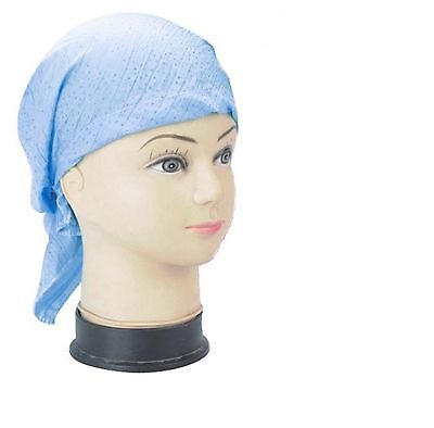 Ladies Cotton Fitted Bandana Headscarf Blue Sparkle Spot One Sz Scarf Easy Tie