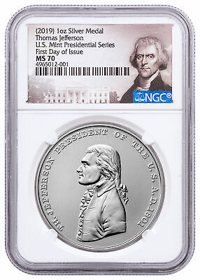 2019 Presidential Thomas Jefferson 1 oz Silver Matte Medal NGC MS70 FDI SKU58165