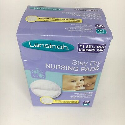 Brand New Lansinoh Stay Dry Disposable Nursing Pads ( 60 Count ) Quilted Lining