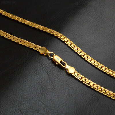 871D New 5MM Women Men`s Jewelry Solid 18K Gold Plated Snake Chain Necklace 20 i