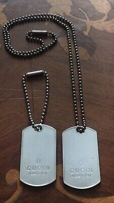 9103052b9 Men's Sterling Silver 925 GUCCI Dog Tag Chain Necklace. Excellent condition