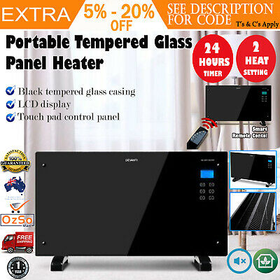 Devanti 2000W Portable Electric Panel Heater Black Glass Infrared Heat Radiant