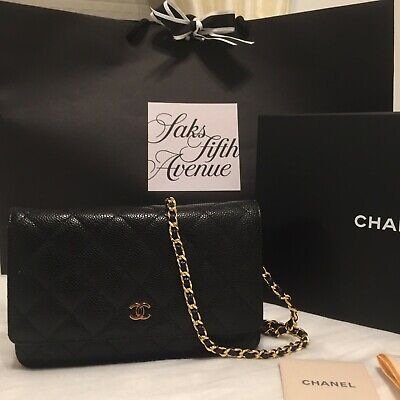 39f2e596f7cd50 Authentic CHANEL Wallet on a Chain Bag WOC Clutch Purse Black Caviar Gold HW  Box