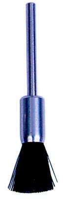 "Weiler end brush. 3/16"" diameter with 3/32 Shank. Hard bristles. Pack of 144"