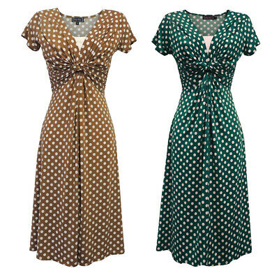 New Ladies Wartime Vintage Inspired WW2 Land girl 1940s Polka Dot Tea Dress