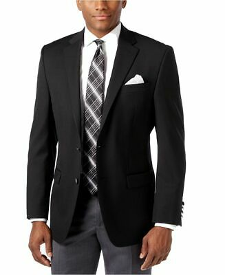 Mens 42L Michael Kors Modern Fit Solid Black Two Button Wool Blend Blazer Spo...