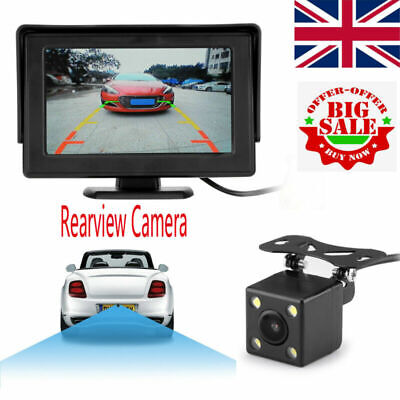 "Wireless Reverse Camera 4.3"" LCD Monitor Screen Car Rear View Backup Waterproof"