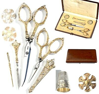 STERLING SILVER: SUPERB French of SEWING SET for Ladies VERMEIL 8 pieces! 19th C
