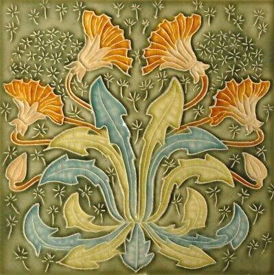 Art Nouveau Vintage Ceramic Tile Henry Richards Trivet Majolica Reproduction