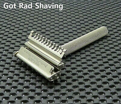 Vintage Valet VC1 Silver Tone open Comb Single Edge Safety Razor NICE & CLEAN!!