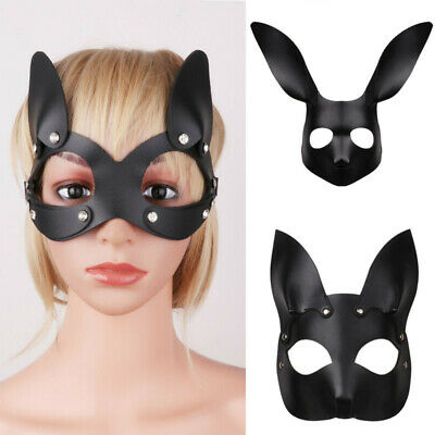 Unisex PU Leather Fox/Rabbit/Cat Half Face Masks with Ears Blindfold Eye Cover
